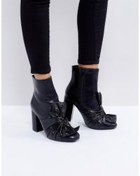 Lost Ink - Black Bow Heeled Ankle Boots - Lyst