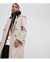 Add - Oversized Trench Coat In Stone - Lyst