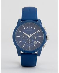 Armani Exchange | Ax1327 Chronograph Silicone Watch In Blue | Lyst