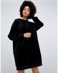 Dr. Denim - Hoodie Dress In Velour - Lyst