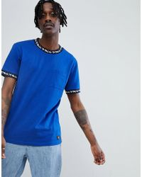 DC Shoes - T-shirt With Neck Taping Detail In Blue - Lyst