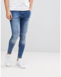 11 Degrees - Super Skinny Biker Jeans In Midwash Blue With Zip Ankles - Lyst