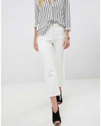 ASOS - Egerton Rigid Cropped Flare Jeans In Off White With Raw Hem - Lyst