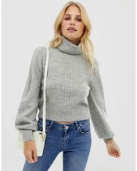 ASOS - High Neck Sweater In Fluffy Yarn With Seam Detail - Lyst