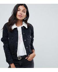 ASOS - Asos Design Tall Denim Shrunken Jacket With Borg Collar In Washed Black - Lyst