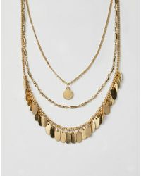 ASOS - Design Petal Disc Multirow Necklace - Lyst