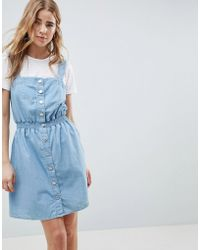 Miss Selfridge - Pinafore Dress In Chambray With Shirred Waist - Lyst