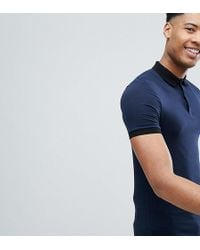 dc64ea7e ASOS - Tall Muscle Polo In Jersey With Stretch And Contrast Collar - Lyst