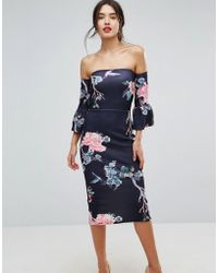 True Violet - Flare Sleeve Bodycon Dress In Floral Print - Lyst
