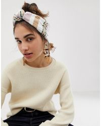 ASOS Knot Front Headscarf In Natural Stripe