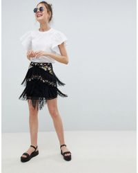 ASOS - Floral Embroidery Mini Skirt With Fringe Detail - Lyst