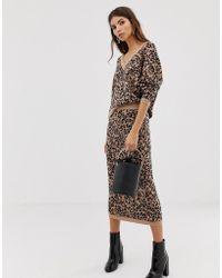 Whistles - Jungle Cat Knitted Midi Skirt - Lyst