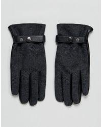 ASOS - Leather Gloves In Grey Herringbone - Lyst