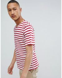 Mango - Man Striped T-shirt In Red - Lyst