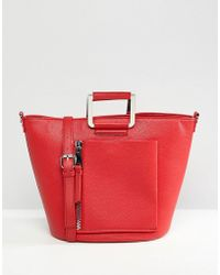Faith - Red Tote Bag With Front Zip Pocket - Lyst