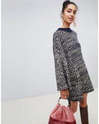 f764d6de385a9d Lost Ink - Sweater Dress In Contrast Chunky Knit - Lyst