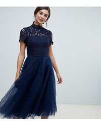 Chi Chi London - High Neck Lace Midi Dress With Tulle Skirt In Navy - Lyst