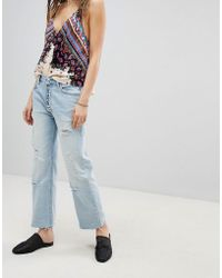 Free People - Rolling On The River Distressed Straight Cropped Jeans - Lyst