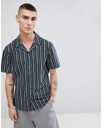Mango - Man Striped Shirt With Revere Collar In Green - Lyst