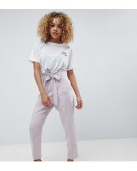 ASOS - Asos Design Petite Tailored Casual Tie Waist Linen Peg Trousers - Lyst