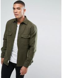 Bellfield - Flannel Overshirt With Pockets - Lyst