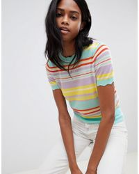 Oasis - Stripe Knitted T-shirt In Multi - Lyst