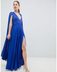 ASOS - Cape Pleated Maxi Dress - Lyst