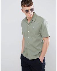 Fred Perry - Woven Pique Revere Collar Shirt In Green - Lyst