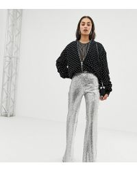 Bershka - Sequin Trousers In Silver - Lyst