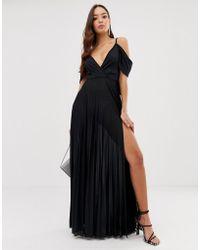 ASOS - Schouderloze Geplooide Maxi-jurk Met Gedrapeerde Achterkant - Lyst