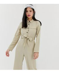 6be1785efb02 Monki - Utility Boilersuit With Oversized Pockets In Beige - Lyst