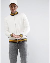 ASOS DESIGN - Asos Textured Retro Track Top In Ecru With Brown And Yellow Highlights - Lyst