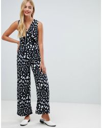 Yumi' - Jumpsuit In Monochrome Animal Print - Lyst