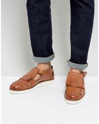 London Brogues | Buckle Sandals In Tan | Lyst
