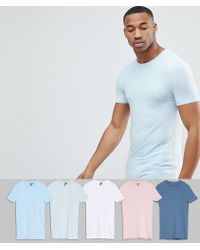 ASOS DESIGN - Longline Muscle Fit T-shirt With Crew Neck 5 Pack Save - Lyst