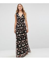 True Decadence - All Over Embroidered V Neck Maxi Dress - Lyst