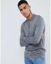 Barbour - Knitted Merino Long Sleeve Polo In Grey - Lyst