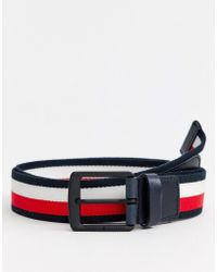 Tommy Hilfiger - Icon Stripe 3.5cm Webbing Belt In Navy - Lyst