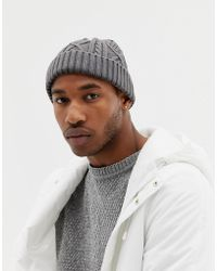 c9b7271c642 ASOS Asos Mini Fisherman Beanie In Purple Cable Knit in Purple for ...