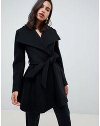 5aa1020a463 Asos Waterfall Trapeze Coat In Wool Blend in Gray - Lyst