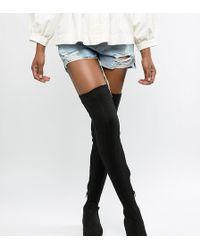 ASOS Kelby Flat Elastic Thigh High Boots