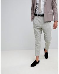 ASOS - Wedding Tapered Smart Trousers In Putty Wool Mix Check - Lyst