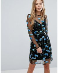 Warehouse - Premium Floral Embroidered Skater Dress - Lyst