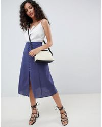 f12175ee5 ASOS Gingham Midi Skirt With Paperbag Waist in Blue - Lyst
