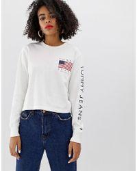 e3ed6417f Tommy Hilfiger  90s Grey Logo T-shirt - Womens L in Gray - Lyst