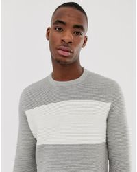 Bershka - Knitted Jumper In Light Grey With White Colour Block - Lyst