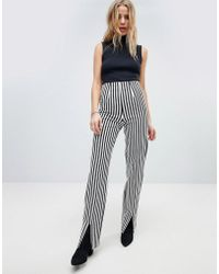 Honey Punch - Trouser With Front Splits In Pinstripe - Lyst