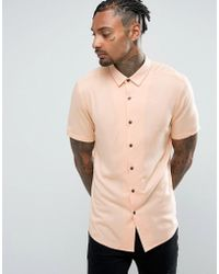 ASOS - Slim Fit Viscose Shirt In Peach - Lyst