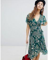 Soaked In Luxury - Printed Wrap Ruffle Dress - Lyst