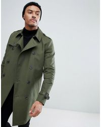 ASOS - Design Shower Resistant Double Breasted Trench In Khaki - Lyst
